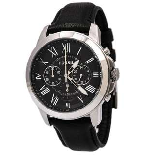 GRANT CHRONOGRAPH BLACK DIAL BLACK LEATHER MEN'S WATCH FS4812