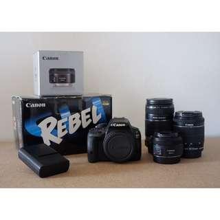 Canon Rebel SL1 (100d) 3 Lens Bundle