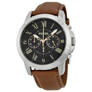 GRANT CHRONOGRAPH BLACK DIAL BROWN LEATHER MEN'S WATCH FS4813