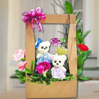 [FREE DELIVERY] 6 Mixed Carnations and Mini-couple Bear in Hard Paper Container (020-CR)