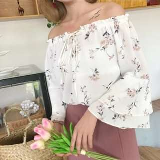 BNWT BN Sweet Korean Floral Blouse Chiffon 2 Way Off Shoulder Ruffled