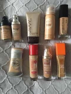 Assorted Foundations, L'Oréal, Rimmel, Revlon, Maybelline