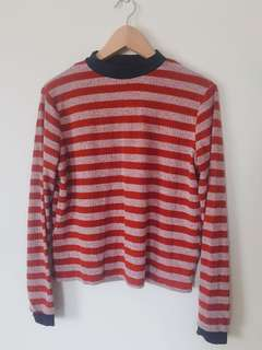 Striped high neck long sleeve