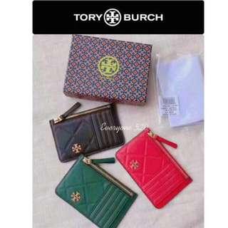 預購 Tory Burch 2018 新款 羊皮電繡 壓紋 迷你 名片夾 卡夾 零錢包