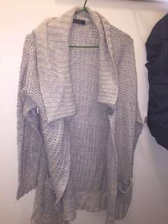 Pebble grey knitted shawl/coat