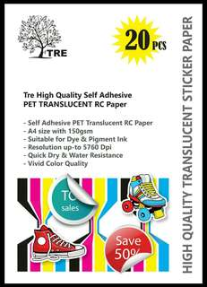 Translucent / Transparent Self Adhesive Paper