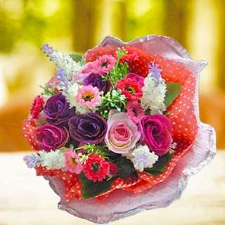 [FREE DELIVERY] Artificial Mini-roses Hand-bouquet (012-SB)
