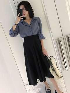 2-Piece: Retro Korean Loose Blouse with High Waist A-Line Skirt (L / XL / 2XL / 3XL) - OA/XKE041709