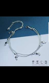 Cute Dolphin Silver Anklet