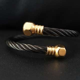 Black Gold Metal Cuff Bracelet