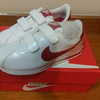 Nike 阿甘 白紅魔鬼氈 中童 21cm