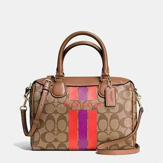 COACH 38401 VARSITY STRIPE MINI BENNETT SATCHEL IN SIGNATURE
