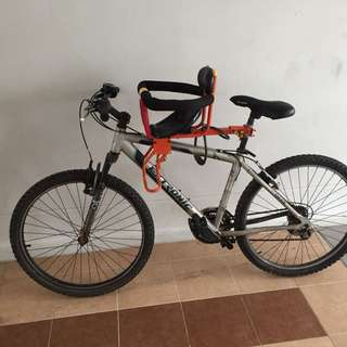 Bi-cycle (2 year old) with baby seat + Helmet + Air Pump for Sale