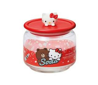 全新 7-11 Line Friends x Sanrio 樽樽滿 Joy 玻璃樽 - Hello Kitty