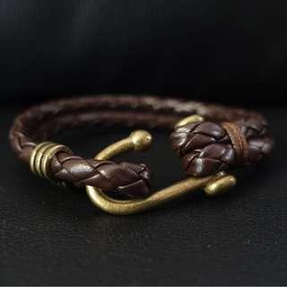 Brown Minimalist Brass Hook Bracelet
