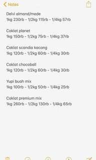List coklat premium