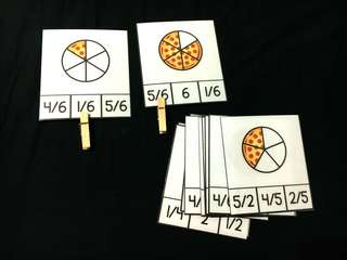 DIY Fraction Clip cards(Pizza)