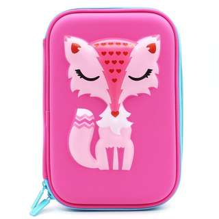 Elegant Fox Hardtop Pencil Holder Cute EVA Pencil Case With Big Capacity For Student Kids (Pink)