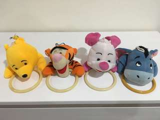Winnie the Pooh and friends plush toy towel ring set