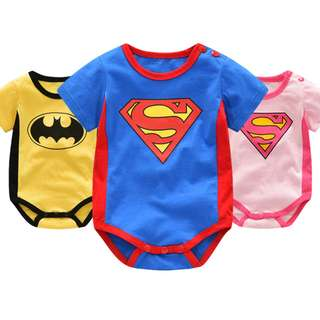 Batman x Superman x Supergirl Short Sleeves Snap Button Romper - 100% Cotton - New-born Infant Baby Babies Toddler Boy Girl Unisex cute 0-24 Months 2T Brand New Instocks Ready Stocks
