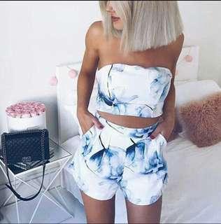 Sexy Floral Crop Top+Shorts Set (Preorder)