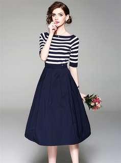 2-Piece: European Summer Boat Neck Stripes T-Shirt with A-Line Long Skirt (S / M / L / XL / 2XL / 3XL) - OA/KKE040931