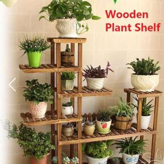 Carbonized 5 tier wooden plant stand