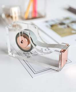 [S3] Elegant Acrylic Gold Tape Dispenser