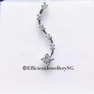 18K 750 White Gold S Swirl Diamond Pendant