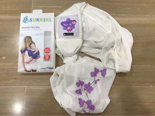 Sukkiri Breathable Ring Sling-Limited SG50 White with Purple Orchids collection