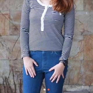 Kaos Stripes Tangan Panjang