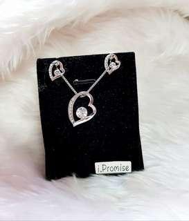 Swarovski elements crystal heart necklace earring set