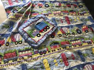 Boys' Quilted blanket and pillow case for Queen size bed