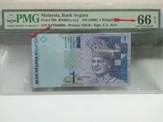 Year 2000 RM1 Paper Note. ( Signed by Zeti ) with Serial Number 7000000 ( 7 Million)  Graded by PMG with 66 EPQ