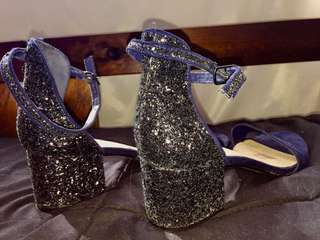 Gorgeous sparkly navy heels