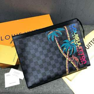 Louis Vuitton Pochette Voyage MM Jungle Theme Cobalt Damier