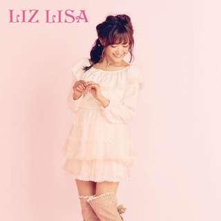 🚚 Lizlisa正品一字領長袖蕾絲花邊上衣裙