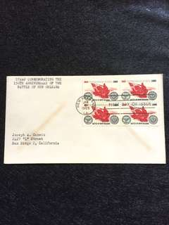 US 1965 Battle of New Orleans Blk4 FDC stamp
