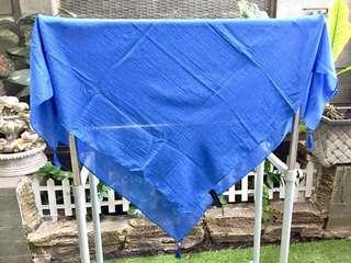 Kerudung Hijab Dafanya Marco Segiempat (Blue with Polcadot White)