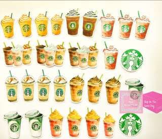 Set of 25pcs Starbucks Drinks Sticker Flakes