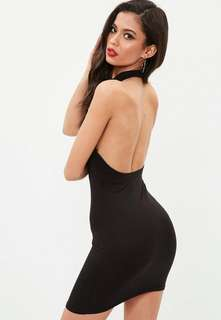 Missguided Black Open Back Halter Bodycon Dress BNWT