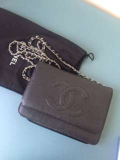 AUTHENTIC USED Chanel WOC Classic Black with Silver Hardware