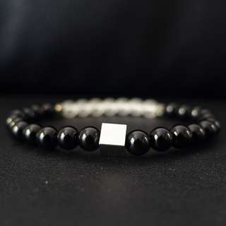 Silver Cube Black Onyx Beaded Bracelet