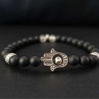 Hamsa Boho Silver Beaded Bracelet