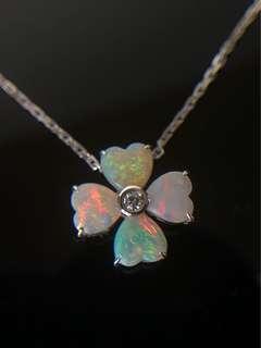 18K白金 澳洲歐泊石鑽石項鍊