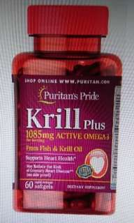 Krill oil plus high omega 3 concemtrate 1085mg 磷蝦油 made in USA