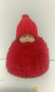 🚚 紅毛線帽小娃娃造型 紅毛球擺飾
