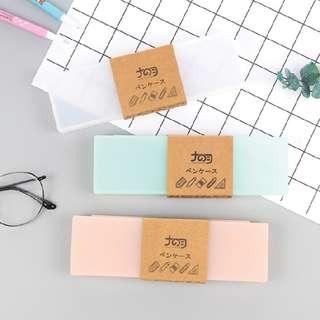 Tempat Pensil Kotak Polos - Clear Pencil Case Matte Doff