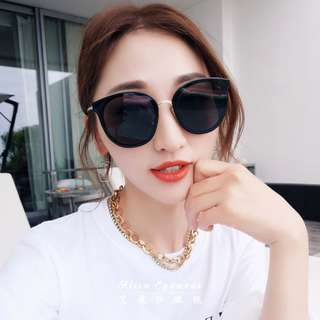 【艾麗莎】女士太陽眼鏡 抗UV400韓國精品PC修臉神器大鏡面圓框墨鏡 2018新款復古經典外型明星時尚潮流風格J302