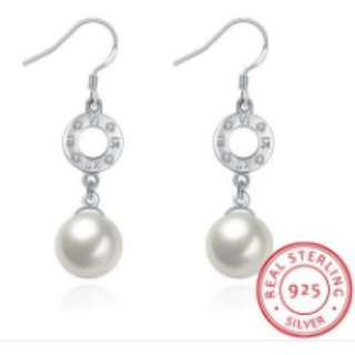 S925 Silver Round Pearl Earrings